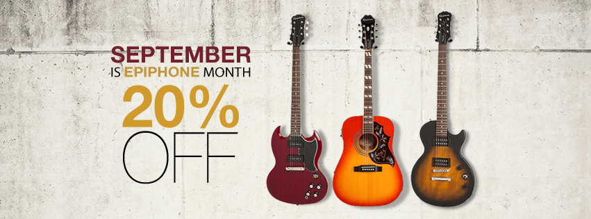 This September, benefit from 20% off on all Epiphone products! Visit us, or call 01 202 302 for more info!